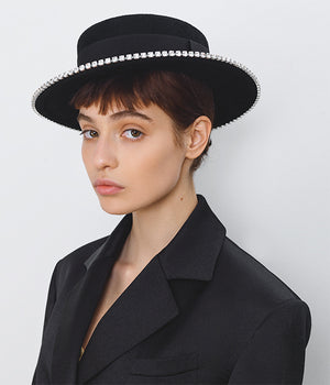 Crystals-trimmed Black Felt Canotier Hat (4669817323568)