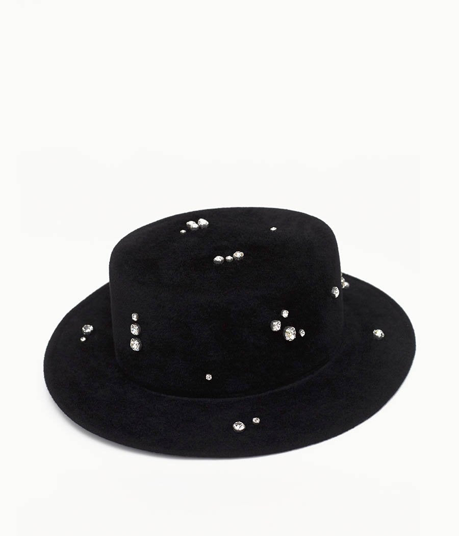 Crystal-embellished Black Felt Canotier Hat (4669817356336)