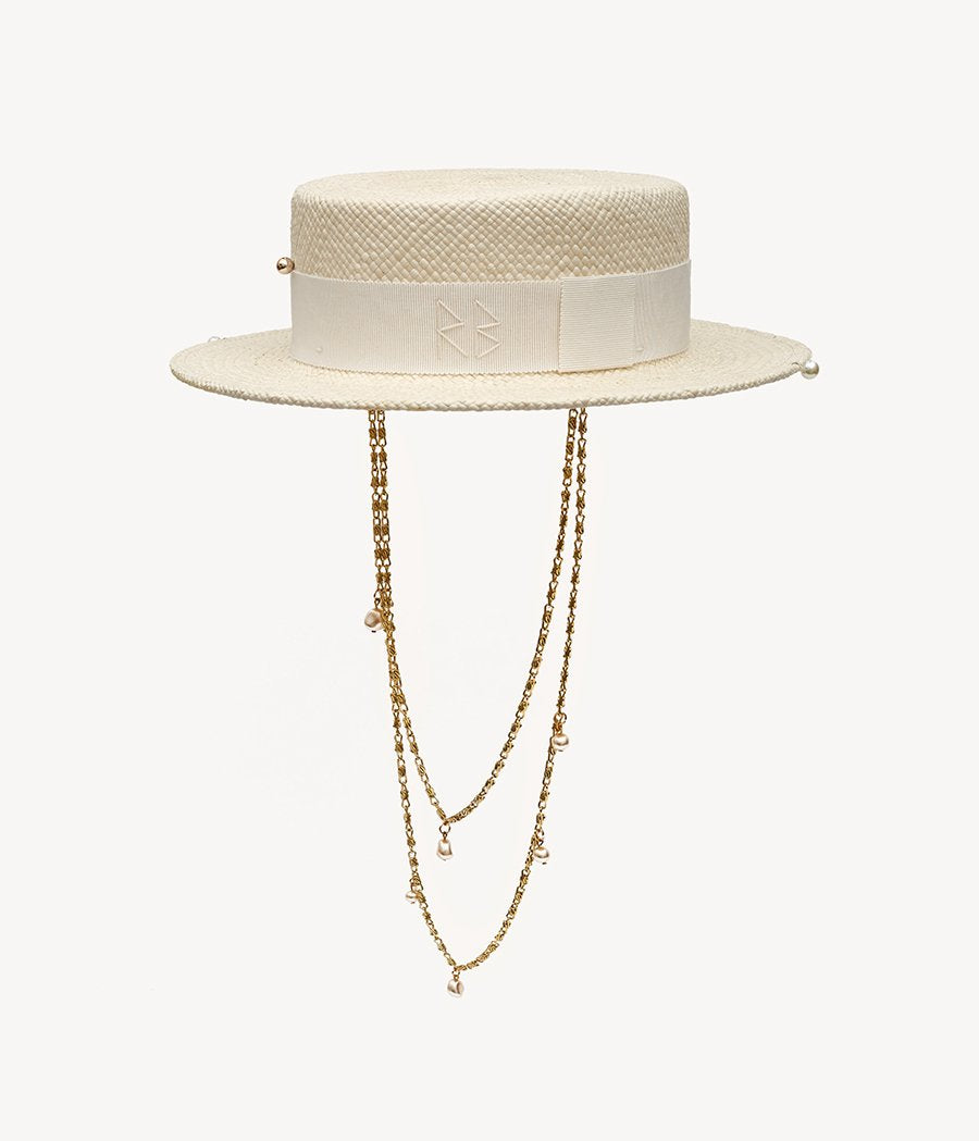 Double Chain Strap Straw Boater Hat