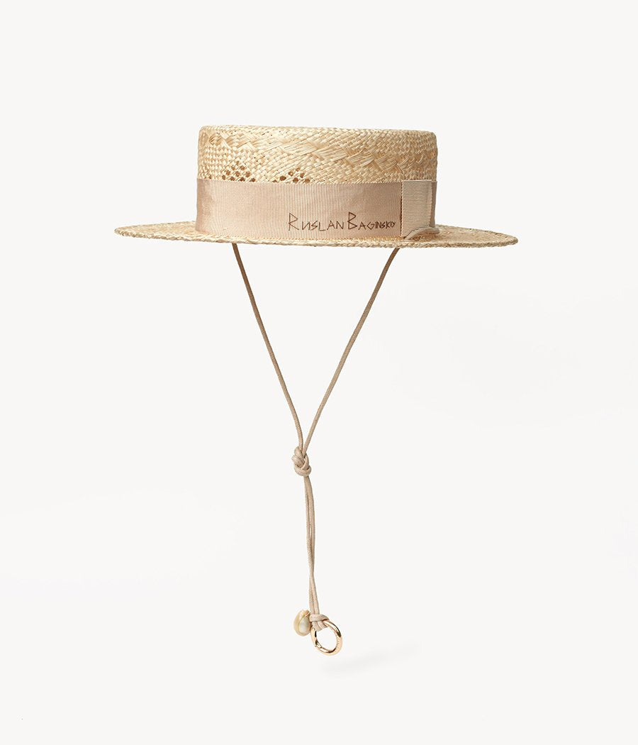 Neutral Straw Boater Hat (4622637826096)