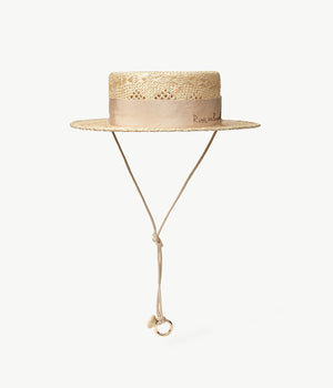 Neutral Straw Boater Hat