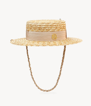 Chain straw boater hat