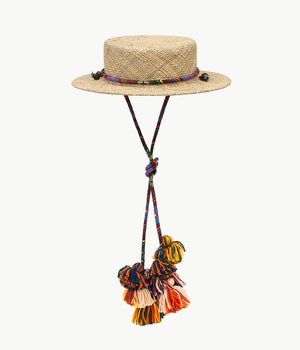 Tasselled straw boater hat (4622637629488)