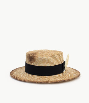Neutral Straw Boater Hat (4622637858864)
