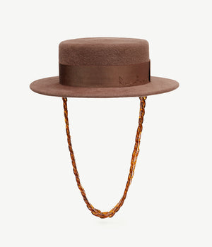 Chain Embellished Brown Felt Canotier Hat (4660093780016)