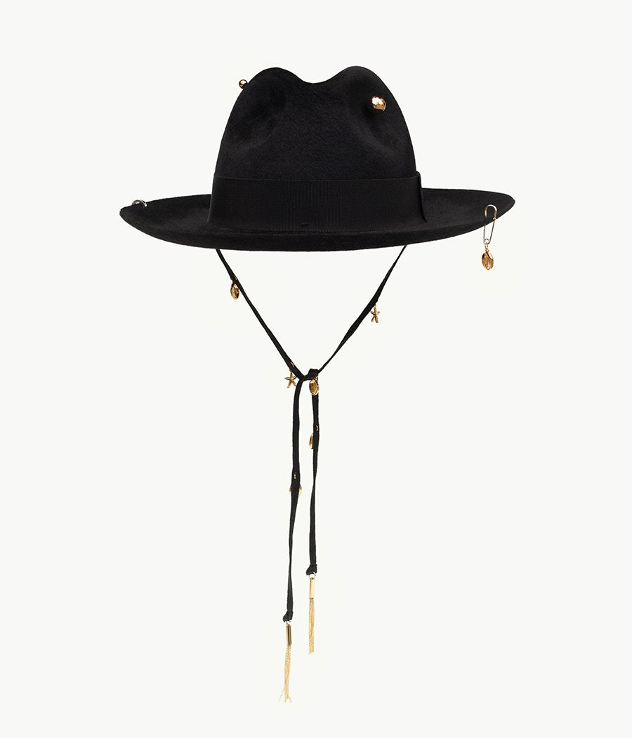 Black pierced felt fedora hat (4622633762864)