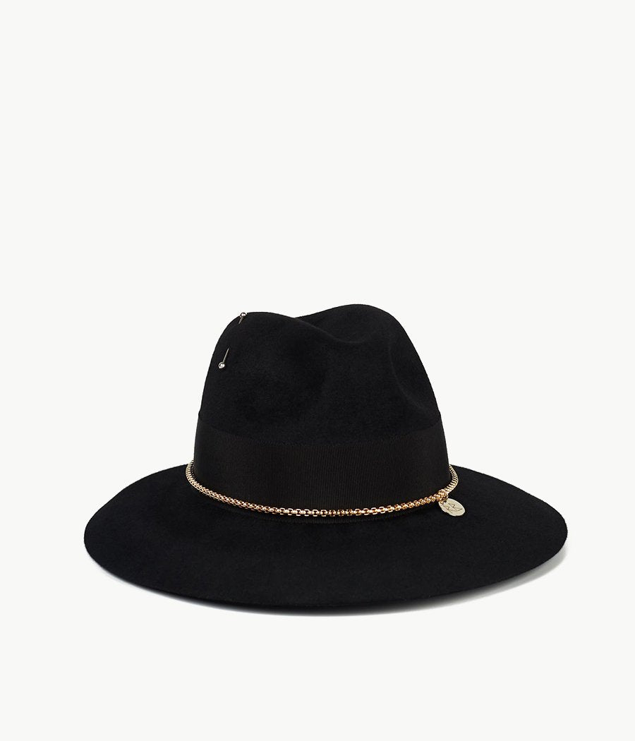 Chain Embellished Black Felt Fedora Hat (4659796803632)