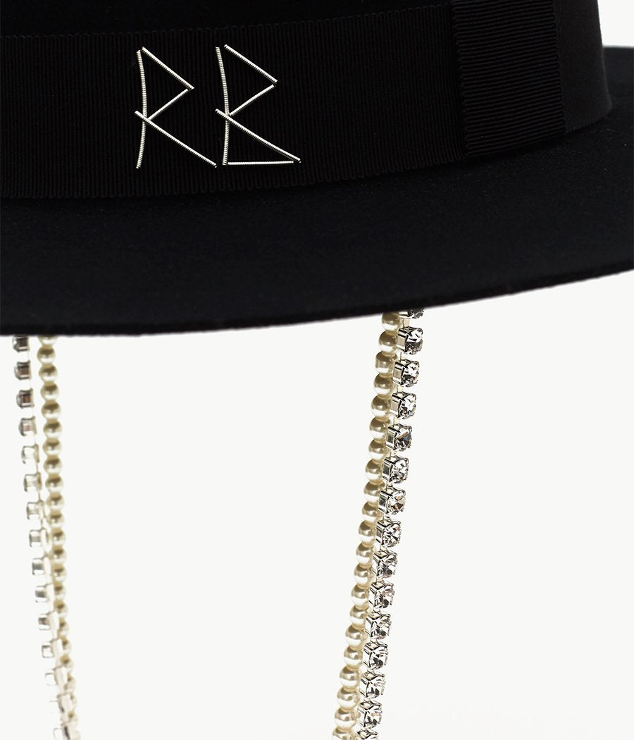 Pearls- and crystal-embellished  Fedora Hat