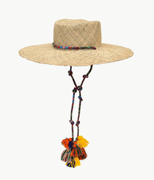 Tasselled straw gambler hat
