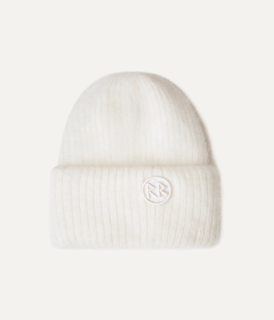 White Logo Patch Beanie Hat