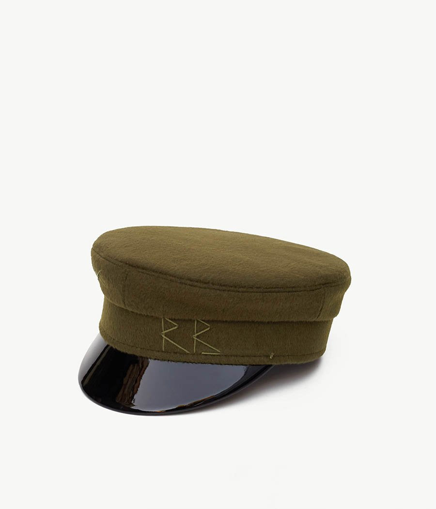 Green Wool Baker Boy Cap (4669817552944)