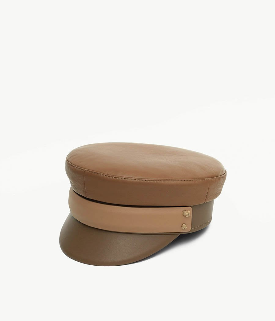 Thri-Colored Leather Baker Boy Cap (4669817651248)