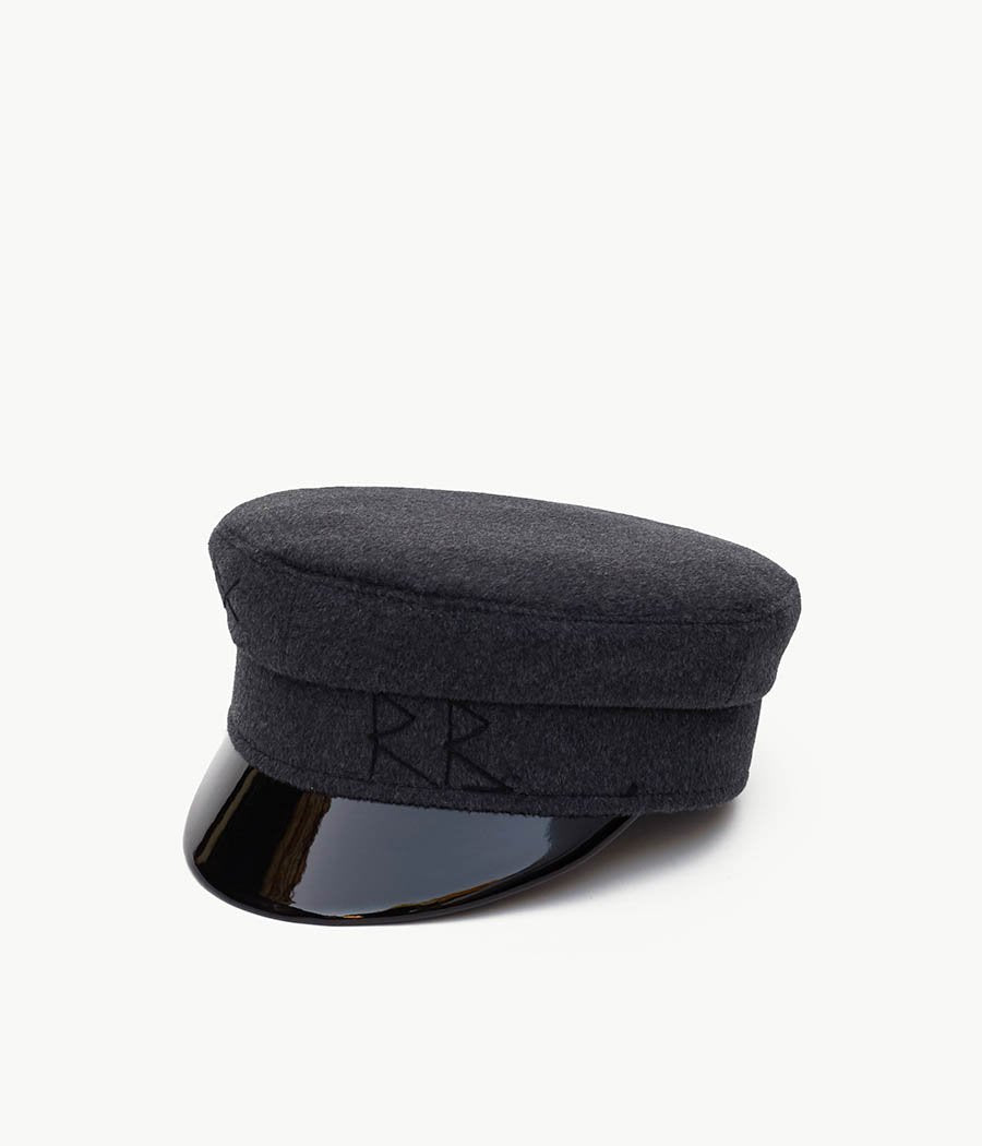 Dark Grey Wool Baker Boy Cap (4669817716784)