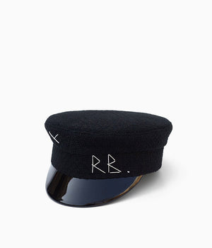 Black baker boy cap (4622635270192)