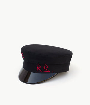 Black cotton baker boy cap (4622635237424)