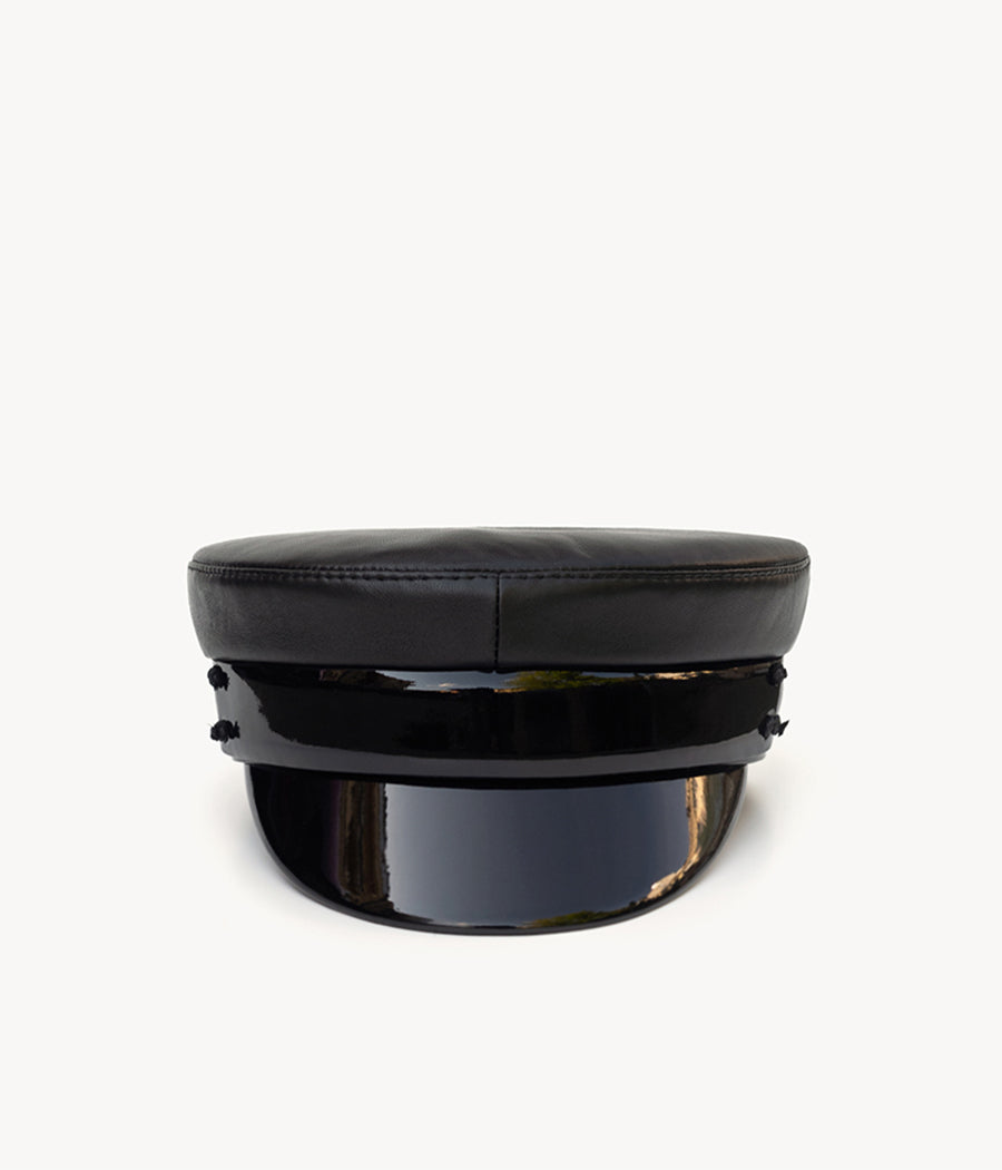 Black leather baker boy cap (4622635565104)
