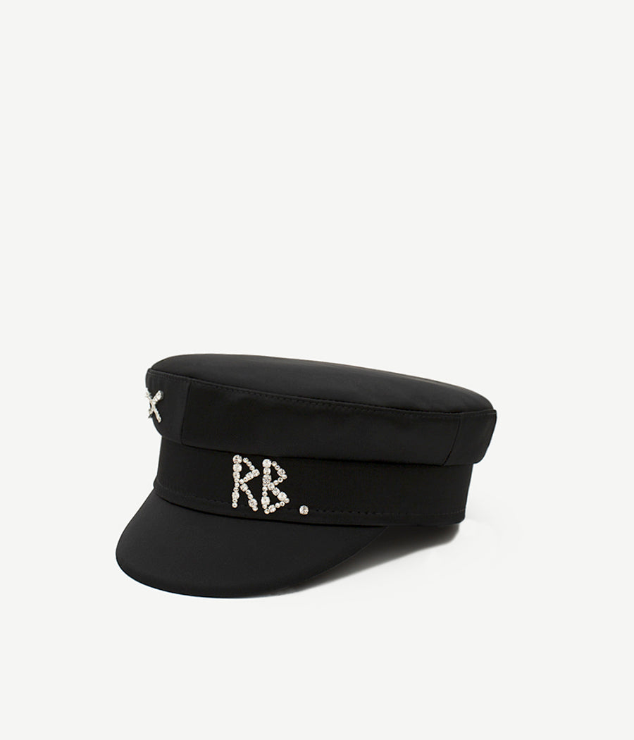 Crystal-embellished Black Satin Baker Boy Cap (4712903835696)