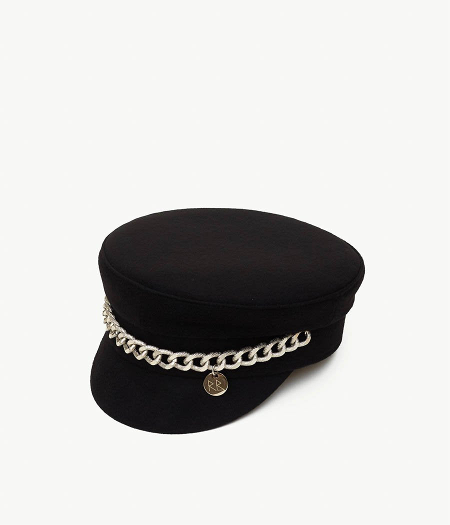 Chain Embellished Baker Boy Cap (4669817782320)