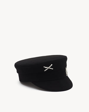 Crystal-embellished Black Wool Baker Boy Cap (4712788033584)