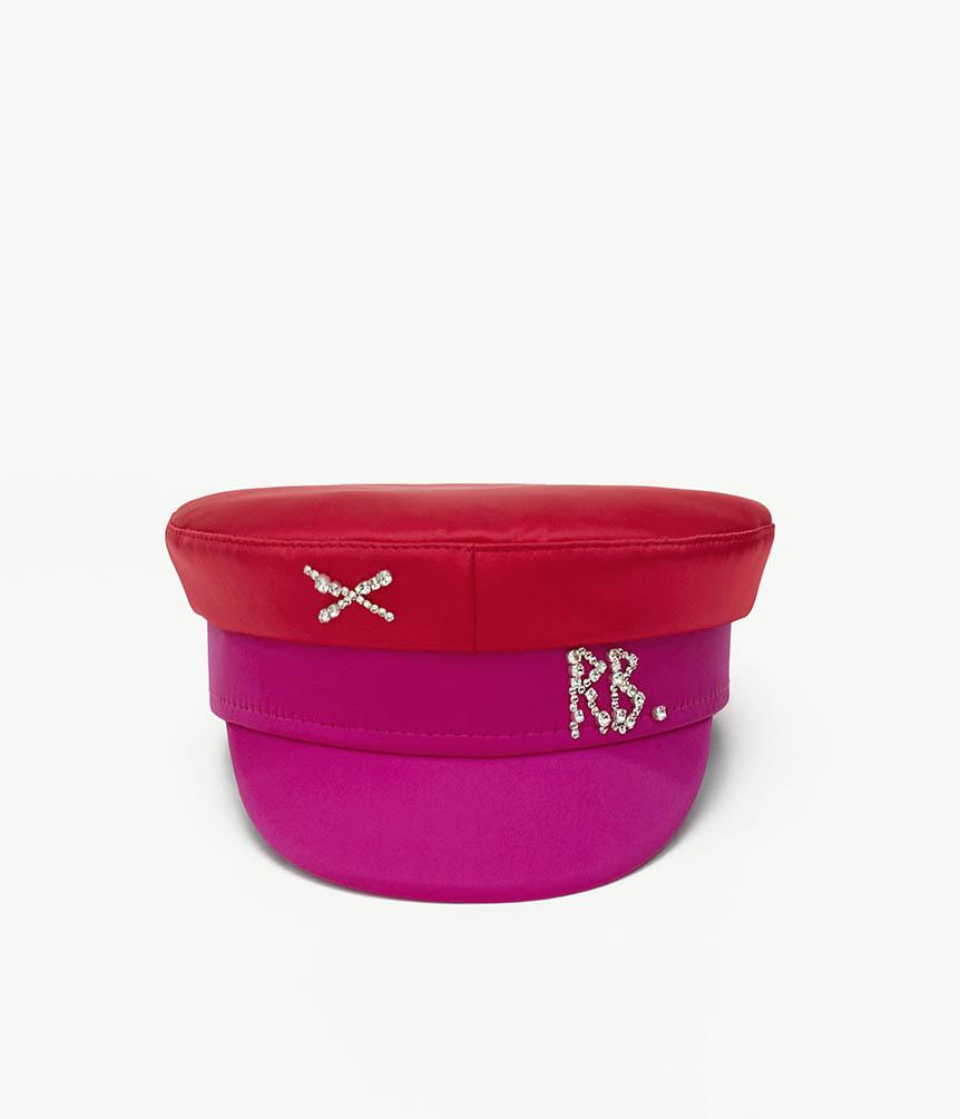 Crystal-embellished Two-colored Satin Baker Boy Cap (4669817847856)