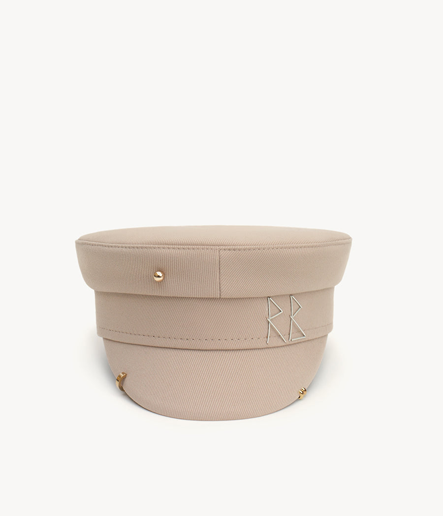 Beige pierced cotton baker boy cap