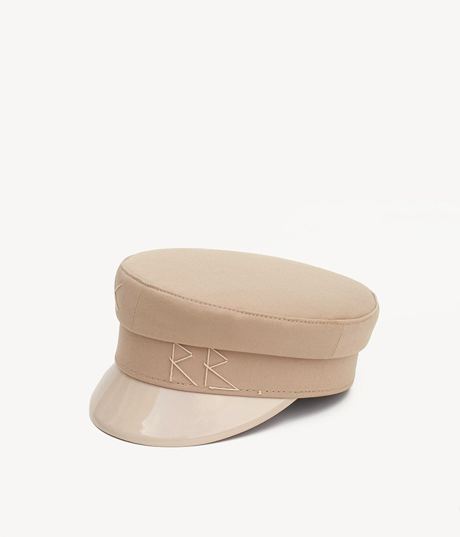 Beige cotton baker boy cap