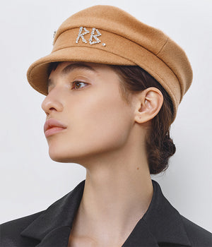 Crystal-embellished Beige Wool Baker Boy Cap (4669817913392)