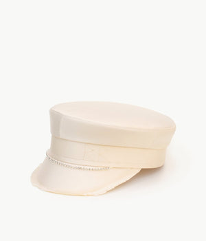 Crystal embellished satin baker boy hat