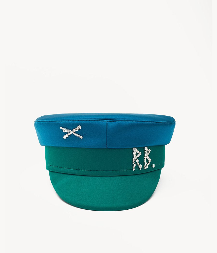 Crystal-embellished Green Satin Baker Boy Cap (4713800335408)