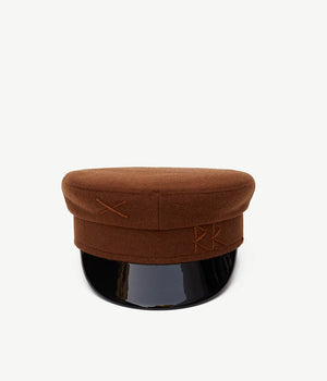 Brown Wool  Baker Boy Cap (4669817585712)