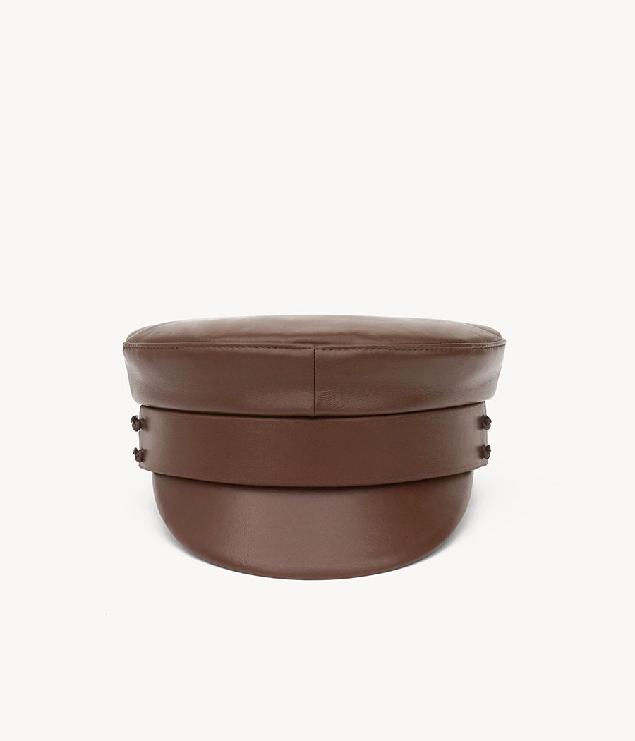 Brown leather baker boy cap