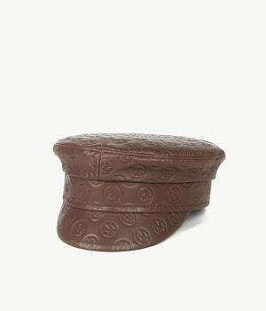 Monogram-embellished Brown Leather Baker Boy Cap (4669817618480)