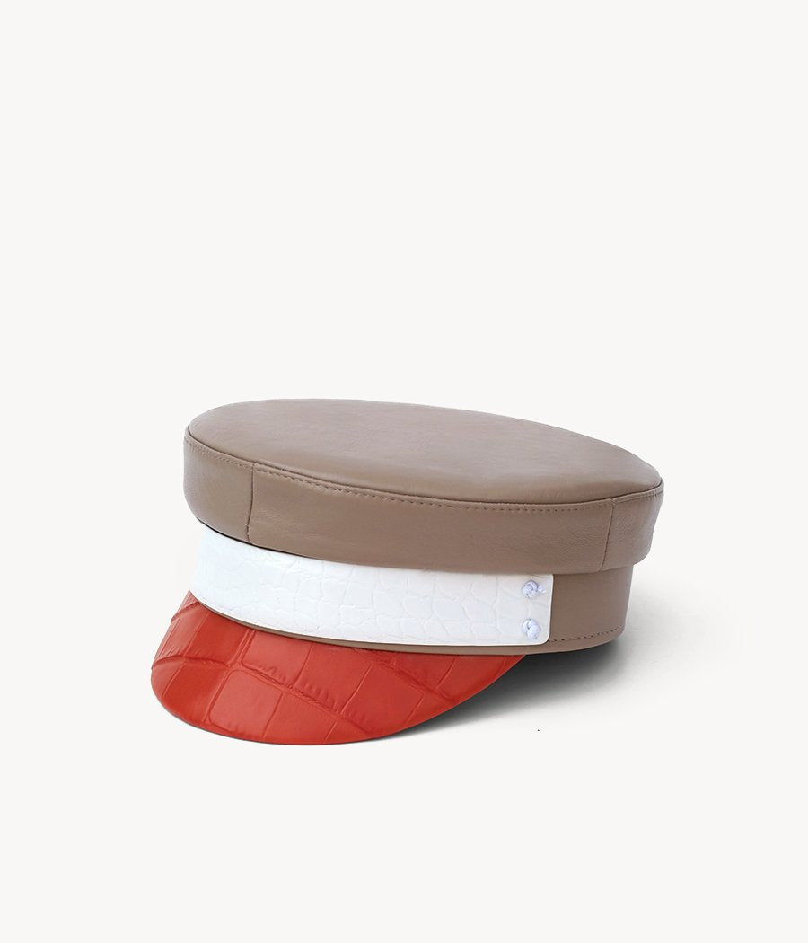 Tri-Colored leather baker boy cap
