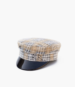 Checked-tweed baker boy cap (4622637334576)