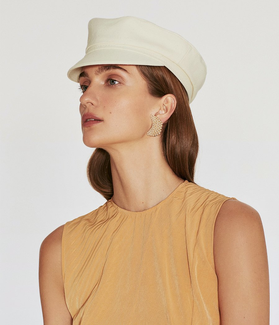 Light beige cotton cap