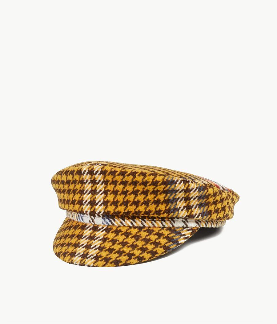 Houndstooth check cap with a peak (4662845374512)