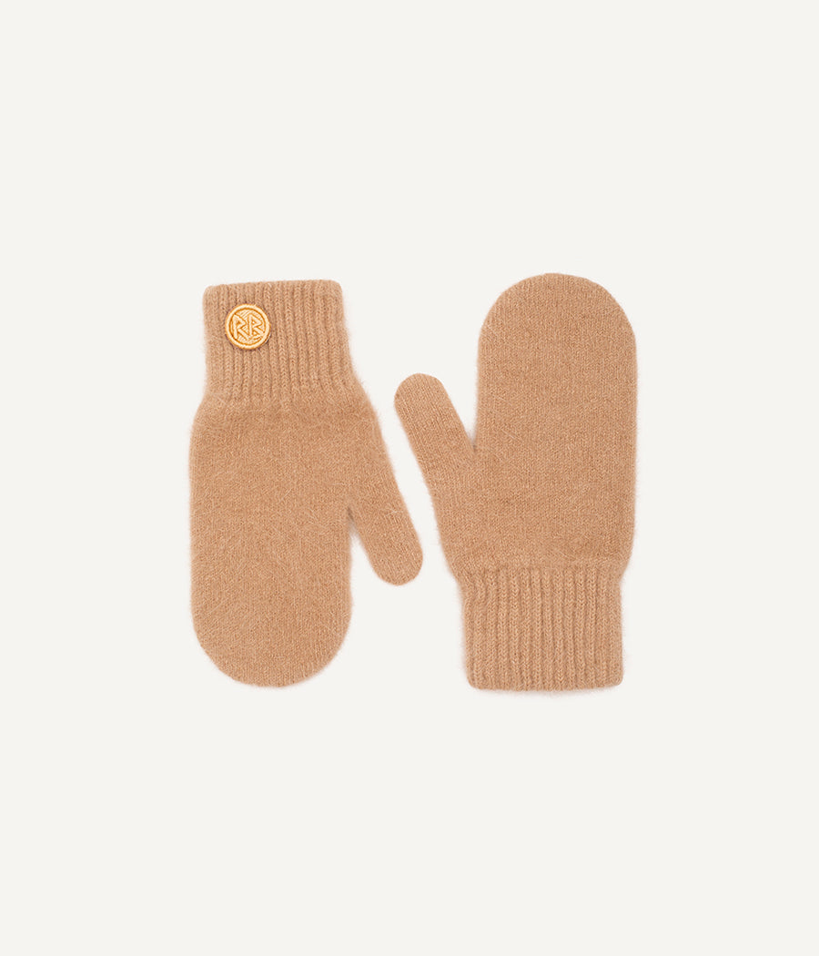 Beige Logo Patch Mittens