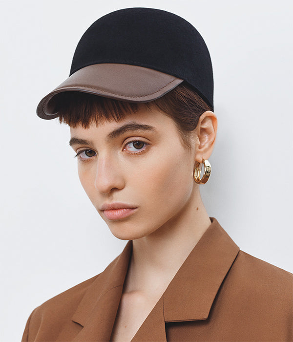 Baseball Cap with leather peak (4669818339376)