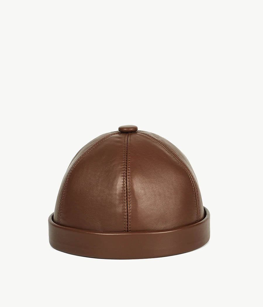 Brown Leather Watch Cap (4669818372144)