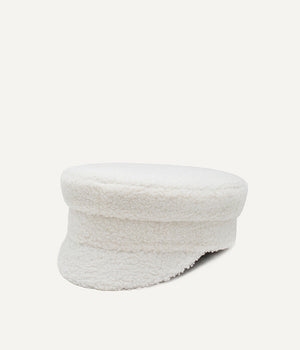 Soft-Touched White Baker Boy Cap