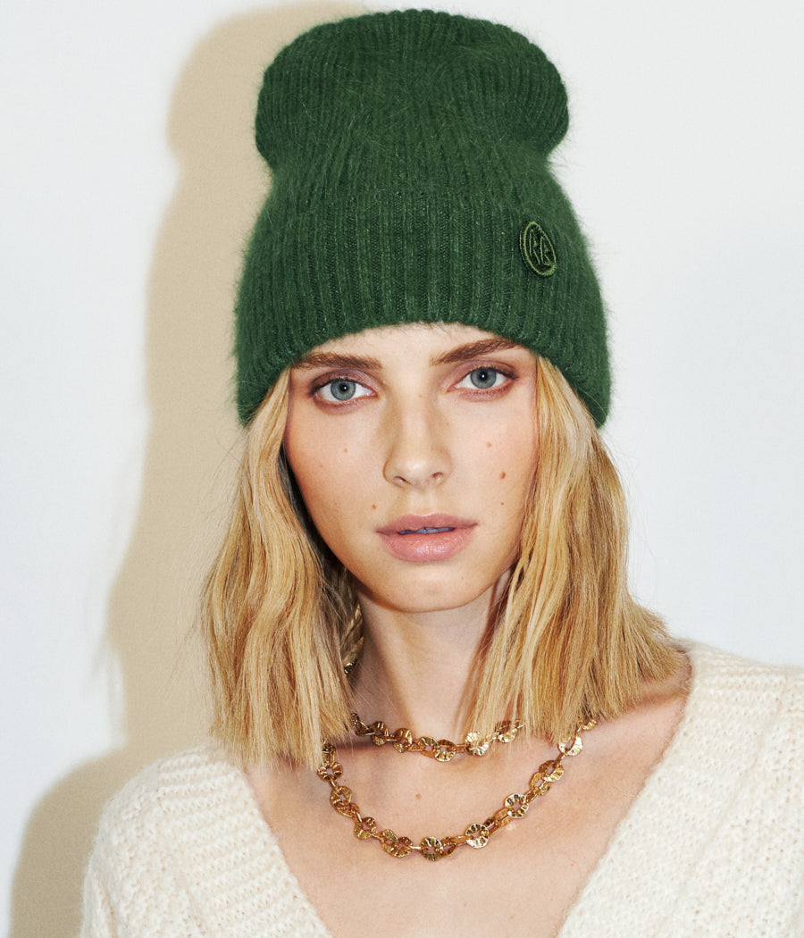 Green Logo Patch Beanie Hat