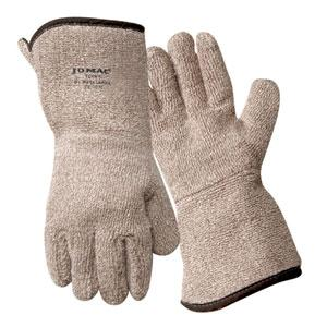 Brown and White Terry Cloth Gloves