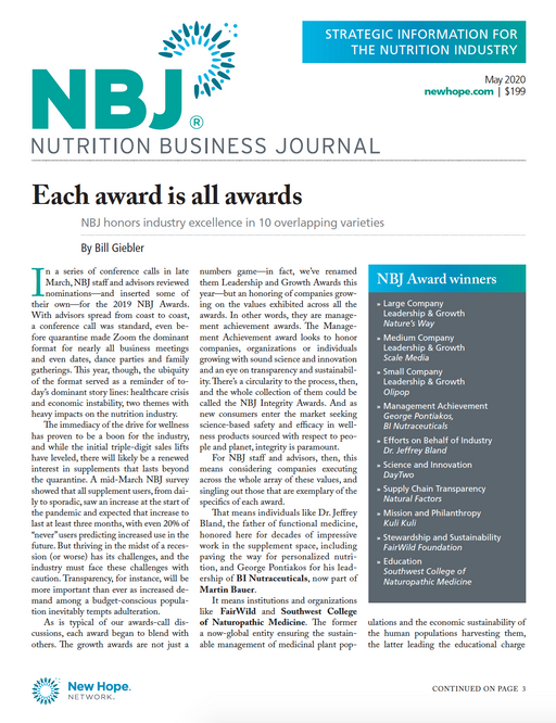 May 2020: Awards Issue