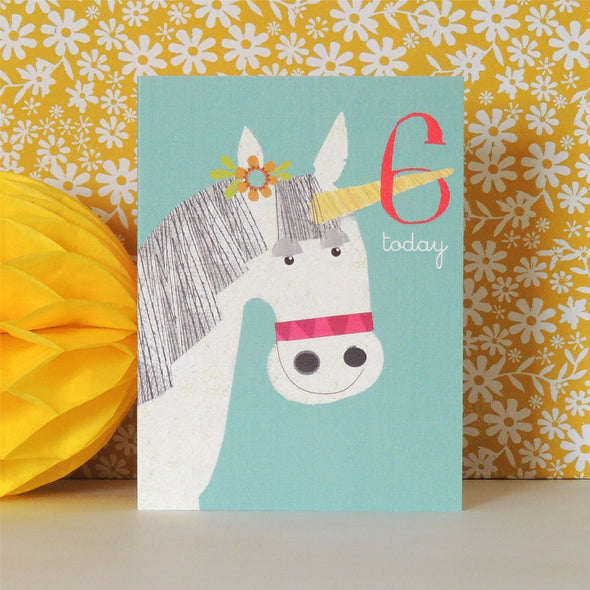 Mini Age 6 Unicorn Card