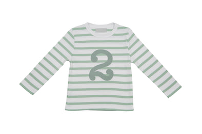 SEAFOAM & WHITE BRETON STRIPED NUMBER 2 T SHIRT