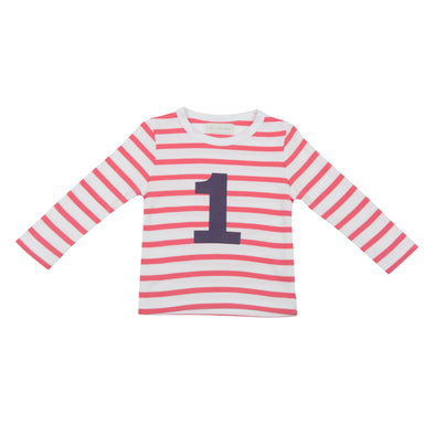 CORAL PINK & WHITE BRETON STRIPED NUMBER 1 T SHIRT