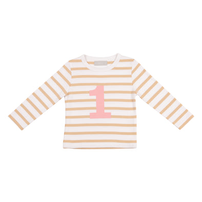 BISCUIT & WHITE BRETON STRIPED NUMBER 1 T SHIRT