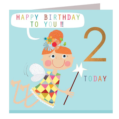 Fairy 2 Birthday Card with copper foiled number
