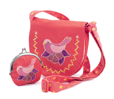 Bird embroidered bag and purse