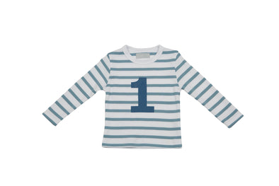 OCEAN BLUE & WHITE BRETON STRIPED NUMBER 1 T SHIRT